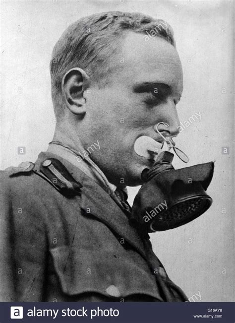 photograph shows german soldier wearing  face mask