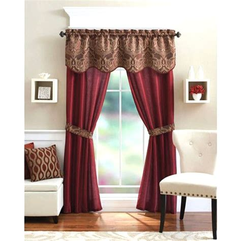 piece curtain panel set elegant red curtains home living