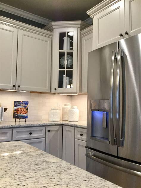 durham glacier gray cabinets  chefs kitchen crown