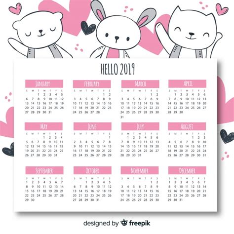 calendario descargar vectores gratis