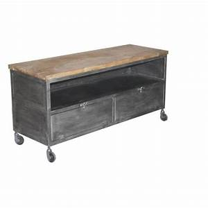 best 25 meuble tv bois massif ideas on pinterest meuble With meuble tele maison du monde 10 bibliothaque sur mesure bois metal micheli design
