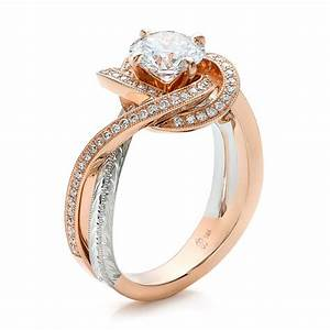 custom rose gold and platinum diamond engagement ring With platinum and gold wedding rings
