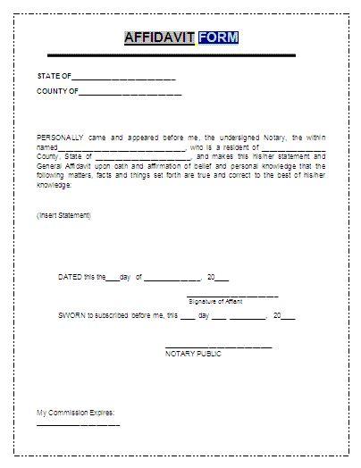 general affidavit template affidavit form a to z free printable sle forms