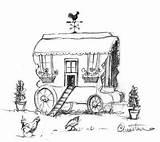 Drawings Wagon Gypsy Caravan Sketches Danny Champion Tattoo Drawing Coloring Sketch Viaje Doodle Trailer Zentangles Arranca Woodworking sketch template