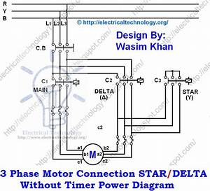 Three Phase Motor Connection Star  Delta Without Timer Power Diagrams