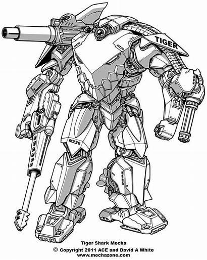 Mecha Shark Tiger Deviantart Master Robots Drawing
