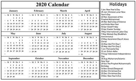 printable   indonesia calendar