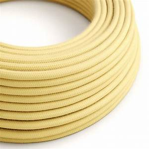 Round Electric Cable Covered By Cotton Fabric Rc10 Pale Yellow