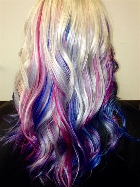 Platinum Blonde Hair With Blue Pink And Purple Streaks