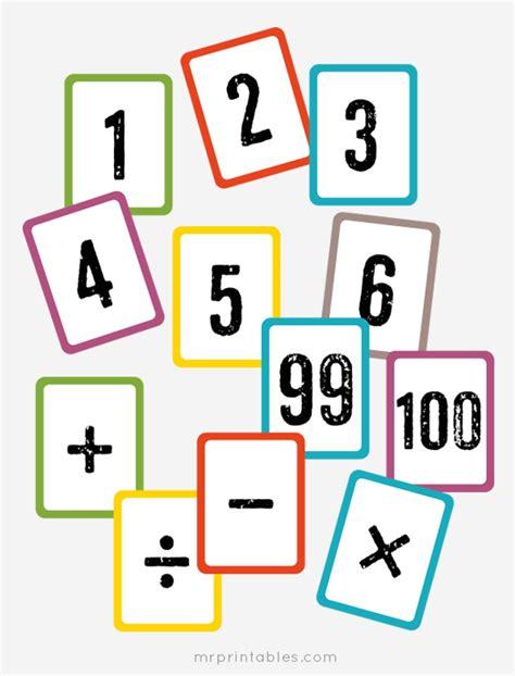 Free Printable Math Flash Cards  Mr Printables