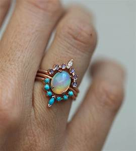ocean engagement ring set solitaire fire opal moonstone With ocean wedding rings