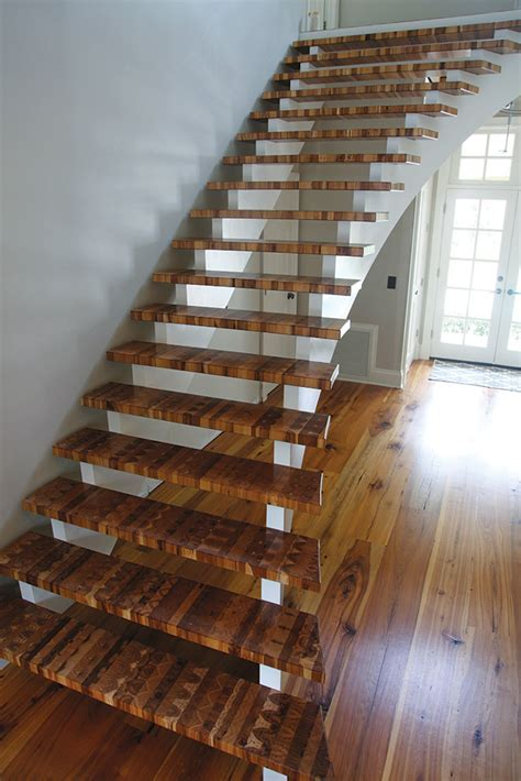 End Grain Craftsman Takes His Blocks to The Stairs   Wood