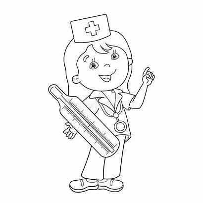 Doctor Thermometer Cartoon Coloring Outline Paramedic Clip