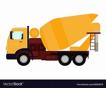 Mixer Truck Concrete Cartoon Driver Vector Illustration