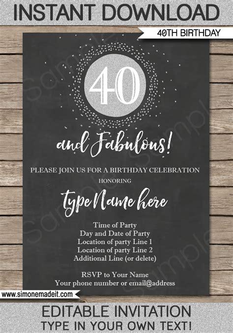 Chalkboard 40th Birthday Invitation Template Silver Glitter