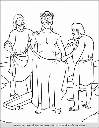 Cross Stations Coloring Pages Printable Away Jesus