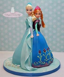 Elsa And Anna Double Doll Cake - CakeCentral com