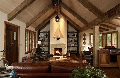 canapé noir angle déco salon rustique atmosphère chaleureuse et naturelle