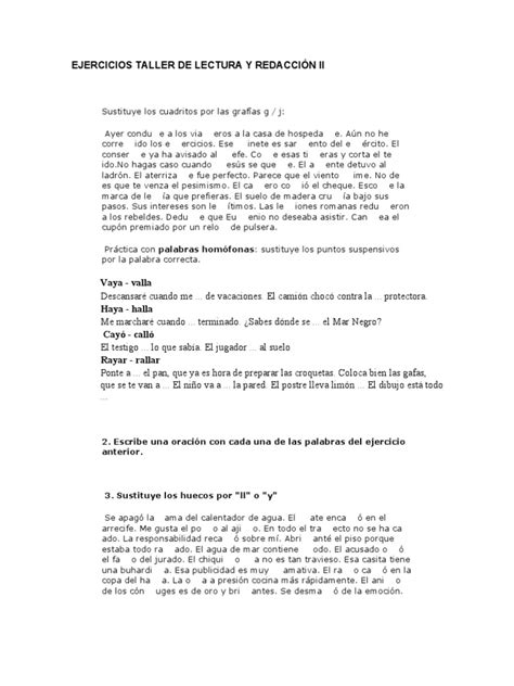 EJERCICIOS TALLER DE LECTURA Y REDACCIÓN II Naturaleza