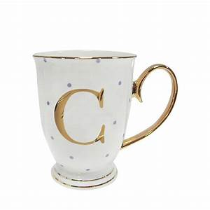 alphabet spotty mugs With letter tea cups