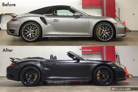 porsche before and after porsche car wraps for color and protection ki studios