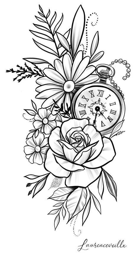 Rose Daisy Flower Clock Tattoo Design @laurenceveillx