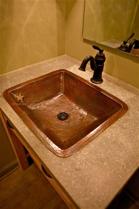 Rustic Sinks Bathroom by Rectangle Counter Copper Bathroom Sink Rustic
