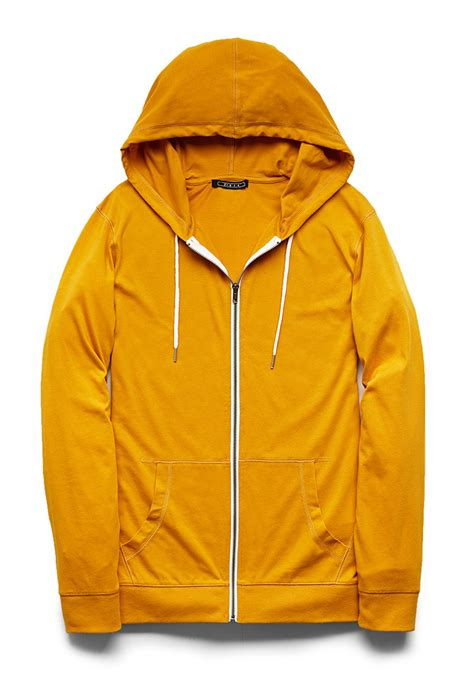 zipper unisex lyst forever 21 zippered drawstring hoodie in yellow for