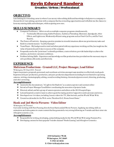 Video Editing Resume  Resume Ideas. Format Cover Letter For Resume. How To Build Up Your Resume. What All Goes On A Resume. Manufacturing Resume Skills. A Perfect Resume Format. Sample Business Development Resumes. Handling Money Resume. Resume Online Format