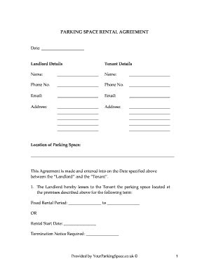 parking space lease agreement template fill