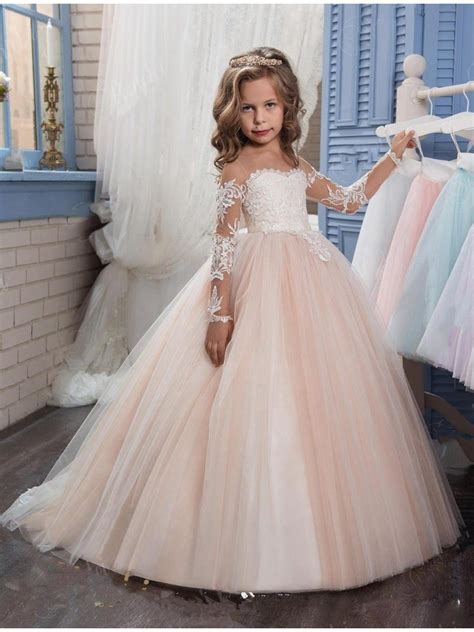 long sleeves lace illusion bodice princess ball gown