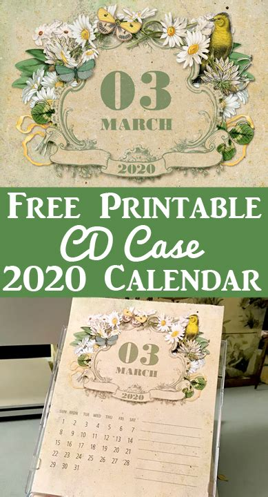 printable calendar  cd case calendar