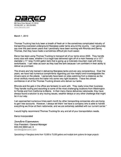 sle reference letter for transport company trucking lockney tx darco review 69194