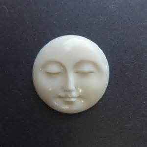 Bone Moon Face Cabochon