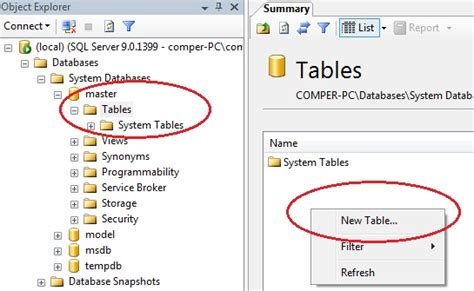 create new table sql how to create a table in sql server 2005