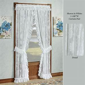 Maison semi sheer lace ruffled priscilla curtains for Priscilla curtains living room