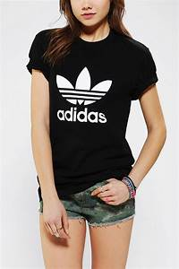Urban Outfitters Adidas Trefoil Tee in Black | Lyst