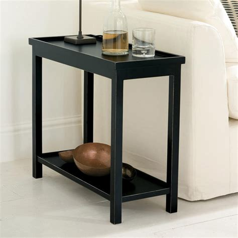 narrow sofa table uk narrow side table in rubbed black oka