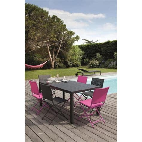 table 6 chaises pas cher salon caraïbes 1 table 6 chaises pliantes framboise