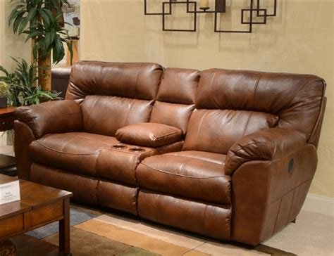 Recliner Loveseats With Console by Nolan Leather Power Reclining Console Loveseat By