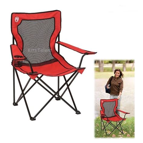 compact folding cing chairs mesh cup holder