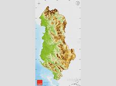 Physical Map of Albania, single color outside