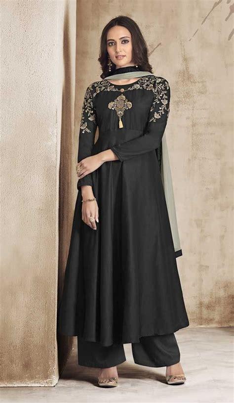 Black Color Maslin Exclusive Readymade Plazo Salwar Suit | 378445269 | Gaun, Model pakaian ...