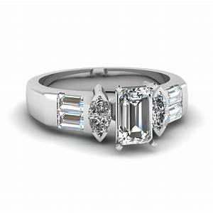 emerald cut diamond twin marcasite side stone ring in 14k With marcasite wedding rings