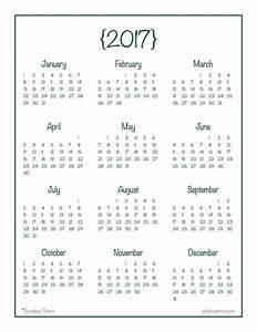 printable year at a glance calendar 2017 printable With day at a glance calendar template