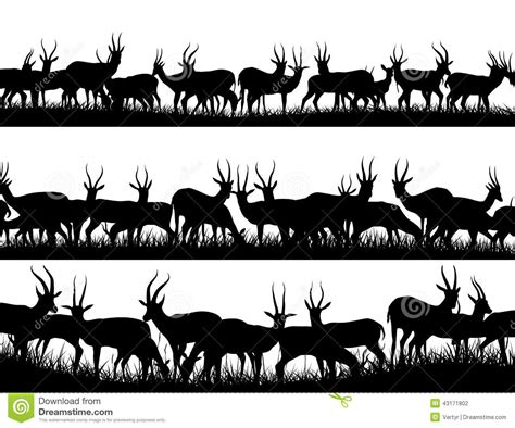 horizontal banner silhouettes of herd of antelope in