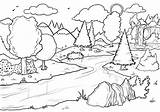 Coloring Forest Pages Waterfall Scene Printable River Nature Bestcoloringpagesforkids Drawing Colouring Adult Drawings Bilder Waterfalls sketch template