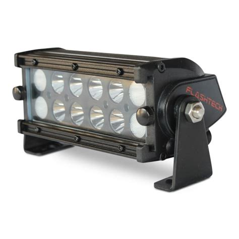 flashtech black led light bar dual row 7 inch