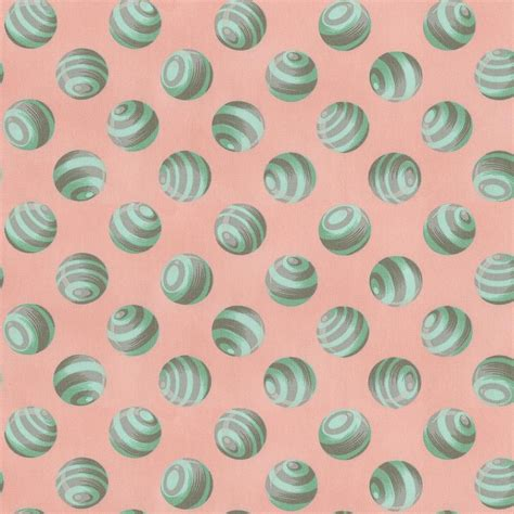 peach  mint bumble dot fabric   yard peach