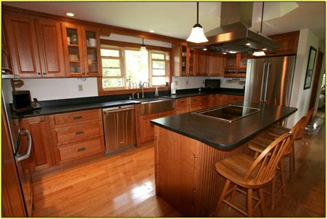 cherry wood kitchen cabinets with black granite hardwood cabinets warm home design 9804